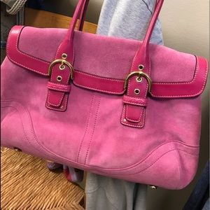 Coach Suede and leather trim bag